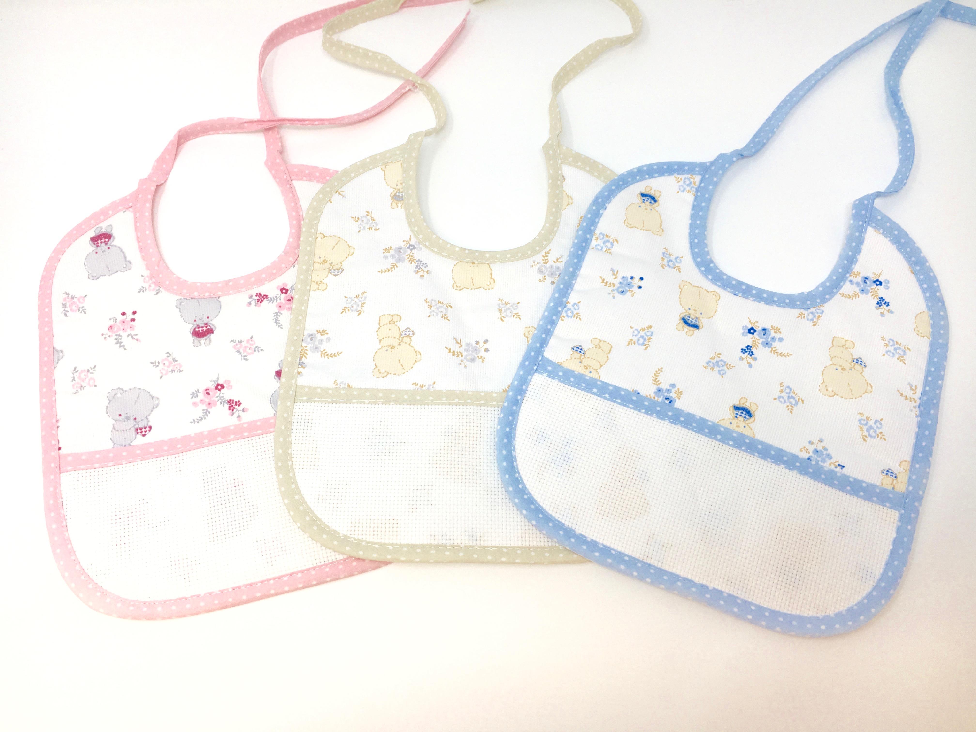 Portaciuccio da ricamare in cotone neonato neonata inserto tela aida per ricamo